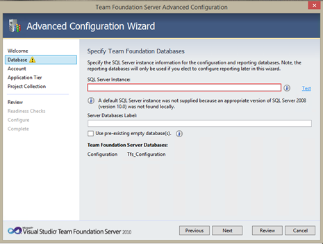Installing and Configuring TFS 2010 with PS2010, SP2010 and